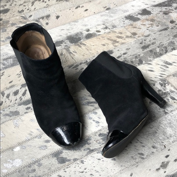 2ff5eab3 CHANEL Black Leather Logo Cap Toe Ankle Boots